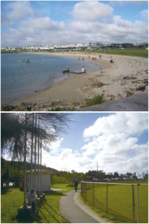 写真3/ビーチ。海水浴を楽しむ家族連れでにぎわう(上写真) 写真4/野球場の外周。ウオーキングや、グラウンドゴルフなどが楽しめる(下写真)
