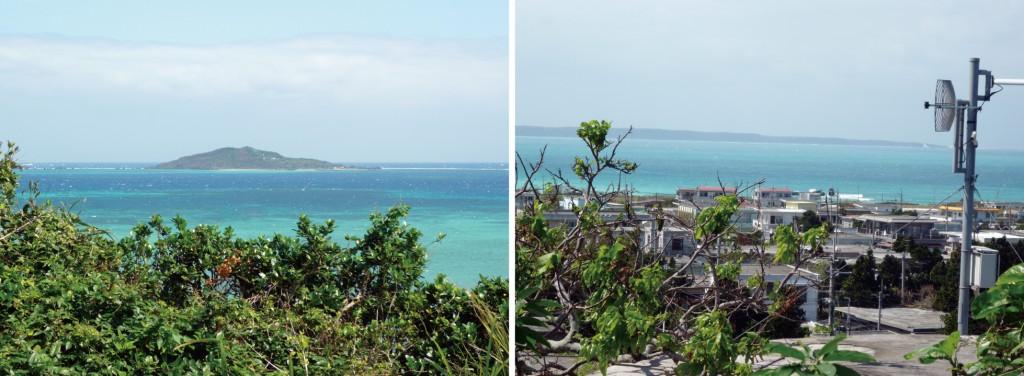 写真4/遠見番所跡から大神島を望む 写真5/現在の狩俣集落。海の向こうに見えるのは伊良部島