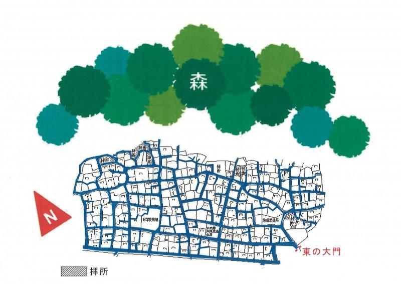 図/狩俣集落内の道は、このように網目状になっている