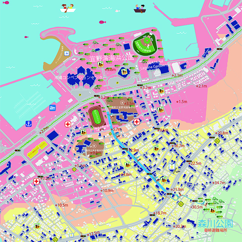 宜野湾海浜公園周辺のマップ