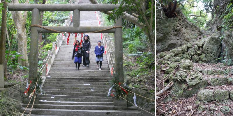写真2/シルミチュー霊場。階段の踏面と蹴上のバランスが良く、上りやすい(写真左) 写真3/宮城島にある坂道。筆者が小学生のころの通学路でもある(写真右)