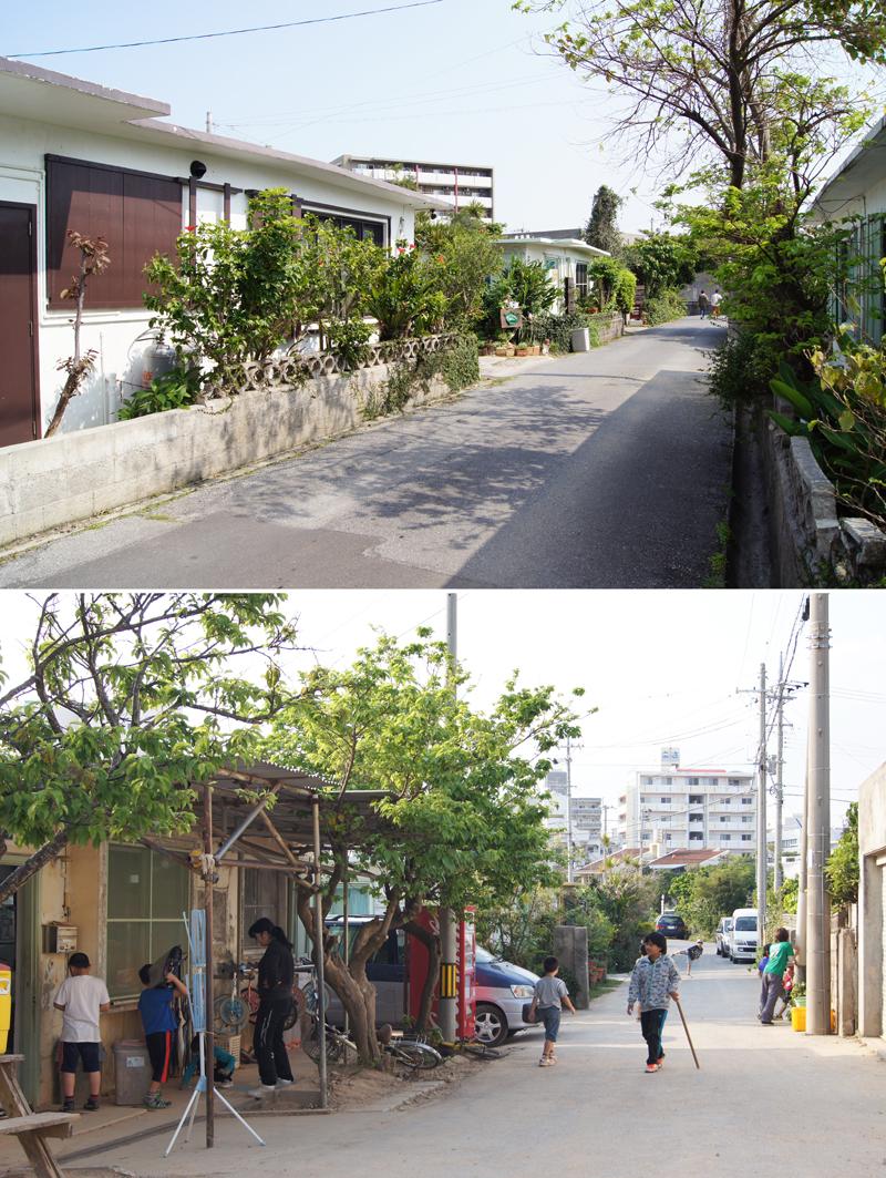 小道。平屋なので狭い道路幅でも圧迫感は感じない/上写真。地域学童での利用。道路で遊ぶ子どもの姿は、最近なかなか見られない/下写真。