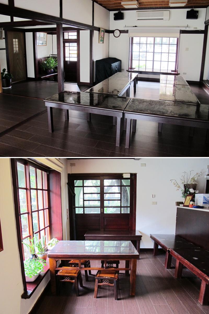 写真上/古いけれどきれいな公民館の内部。靴を脱いで入る。板張りの床や天井、窓の格子が、日本を思わせる 写真下/公民館の内部。現在でも市民向けの文化・芸術講座に時折使われているのだとか