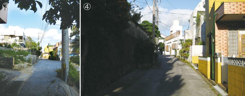 写真3/一見すると、住宅地の細い路地にしか見えない。だが、紛れもなく路面電車の線路跡 写真4/左にカーブをする線路跡。奥に向かって緩い上り坂となっていて、少しずつ勾配を上がっていく様子が分かる
