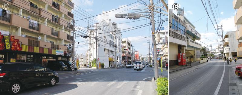 写真5/浦添市の主要な道路となっているパイプライン通りも、鉄道の線路跡だった。正面の白いビル左手から分かれる一方通行の道が、引込み線跡 写真6/電柱を見るとカーブの様子が分かりやすい。戦時中、安謝にあった工場へ延ばす目的で建設されたが、工事は途中で終わった