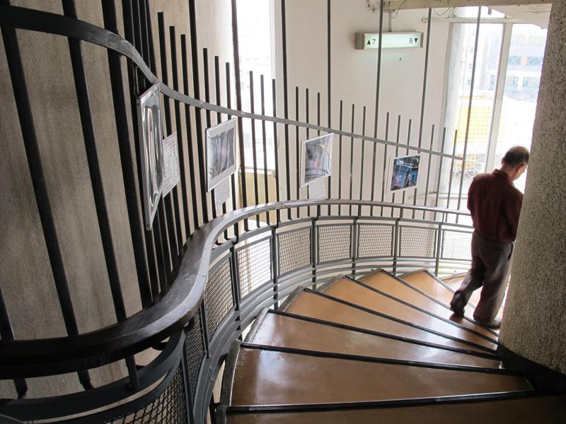 窓から光が差し込むらせん階段。木製の手すり曲線がリズミカル