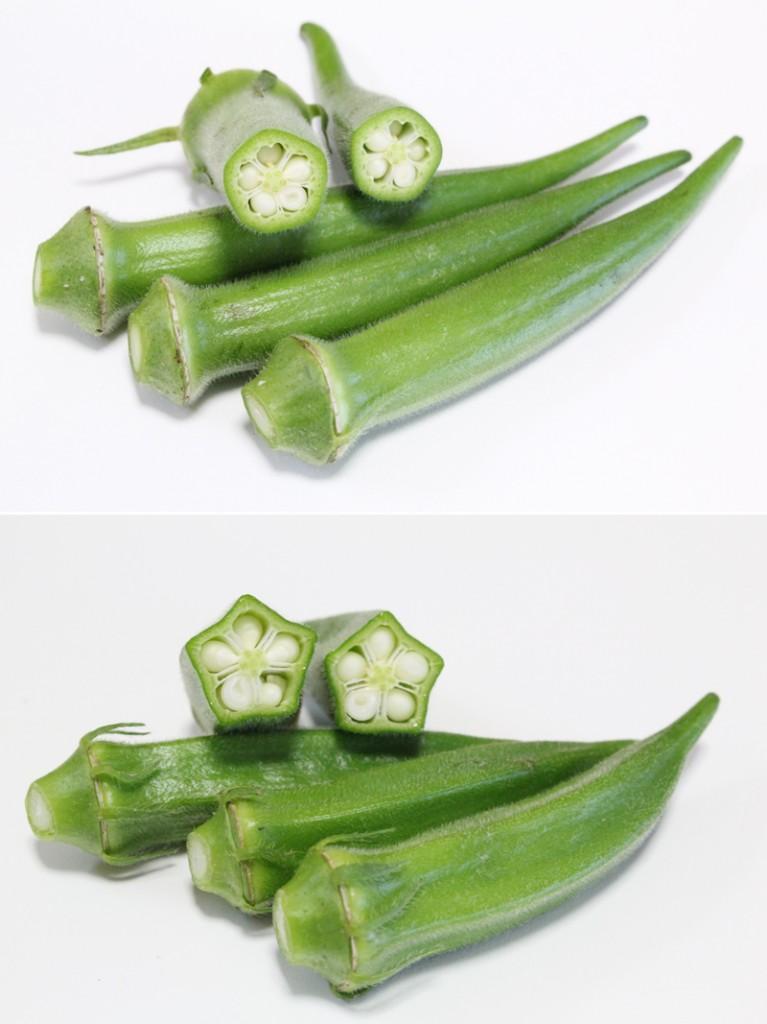 断面が円形の丸オクラは、沖縄で愛されている在来種/上写真 断面が五角形の角オクラは、星型を生かして料理に/下写真