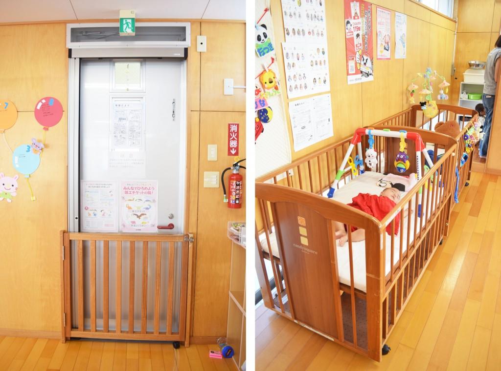 教室の出入り口にはサークルつき。ベビーベッドは3台あります