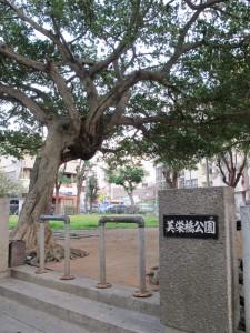 <7>パレットくもじの近くにある三角公園と呼ばれる公園。正式な名称は「美栄橋公園」