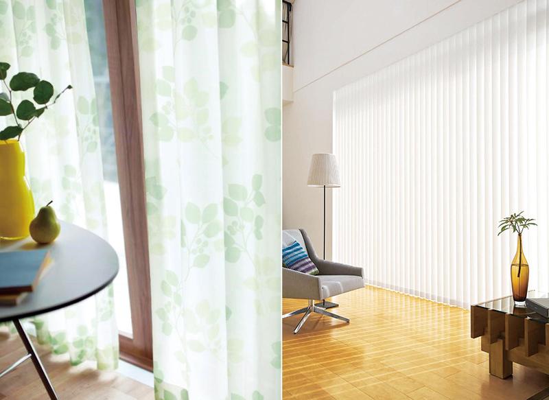 重なり合う葉のシルエットが、爽やかで涼しげな遮熱レースカーテン=リリカラ(株)提供/写真1 バーチカルブラインド。採光とプライバシー確保の両方に対応するセンターレーススタイル=(株)ニチベイ提供/写真2