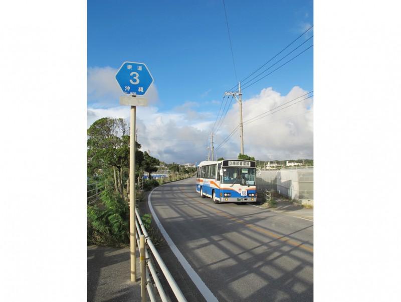 ちょうど糸満の南部を一周するバスが走ってきた。農作業の車、喜屋武岬への観光客と、意外に通行量は多い