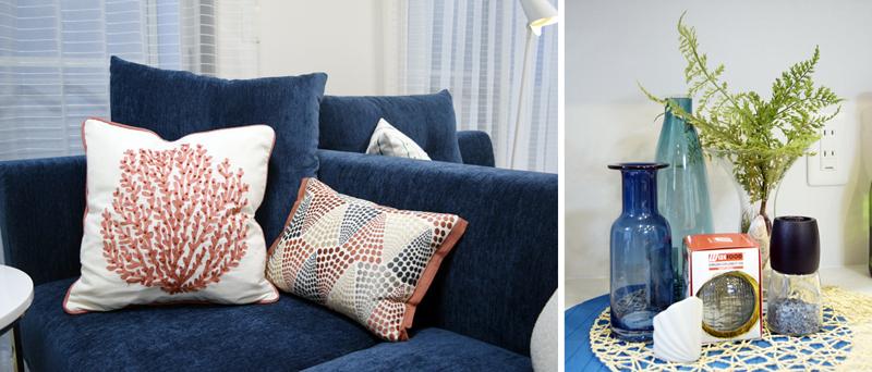 写真②クッションの模様の赤とソファの青のトーンを合わせ程よいアクセントに 写真③色・質感で涼しさを演出