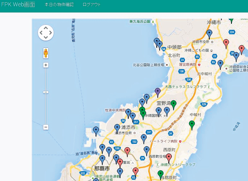 物件のリストと共に届く地図。一戸建ては赤、マンションは青、土地は緑で色分けされている(ワイズバンク提供)