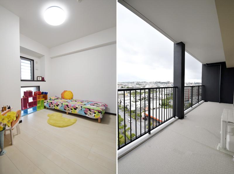 白を基調とした子ども部屋も清潔感があり、過ごしやすそう/左 ベランダからの眺望/右