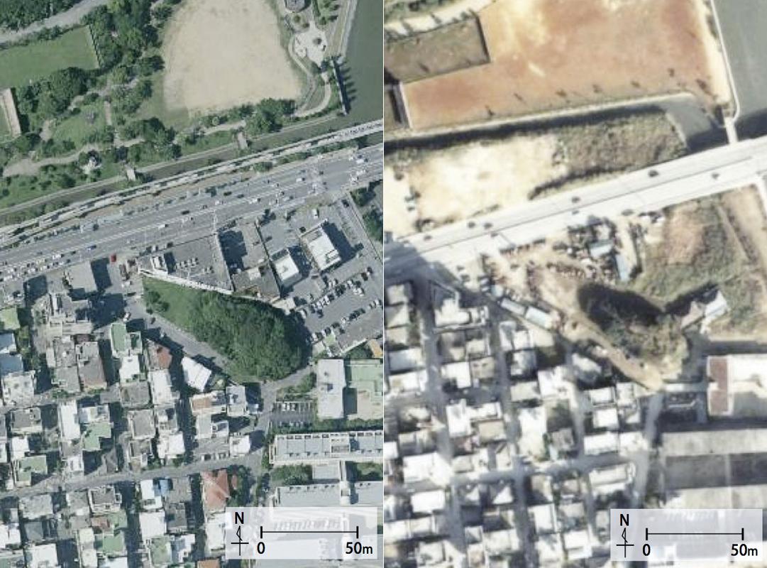 1977年の写真(右)では、埋め立てから10年以上たっているが、周囲は砂州のまま残っているのが分かる。2010年になると周辺の整備も進み砂州も駐車場となったが、区画はそのまま変わらず残っている(背景地図等データは国土地理院の電子国土Webシステムから配信されたものである)