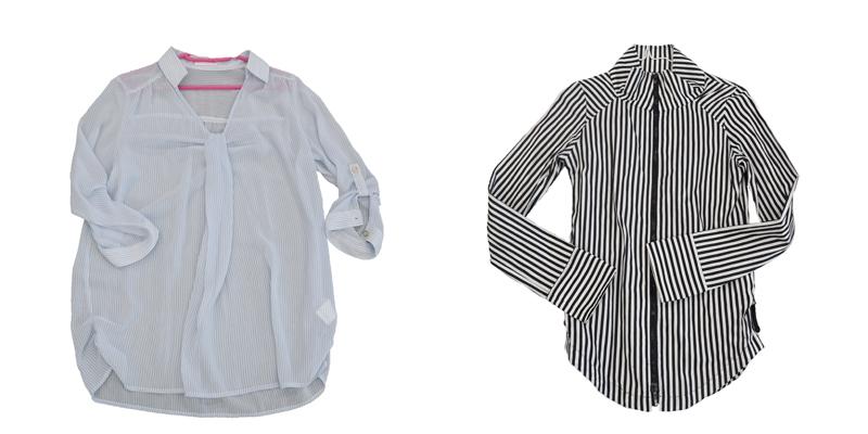 仕分け後、残った服。マップのイメージに合う色と質感のシャツ/写真左 捨てられなかった服もイメージに合わないので着ないと判断し譲ることに/写真右