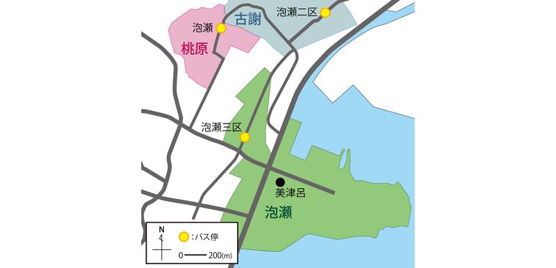 沖縄県沖縄市泡瀬バス停周辺の地図