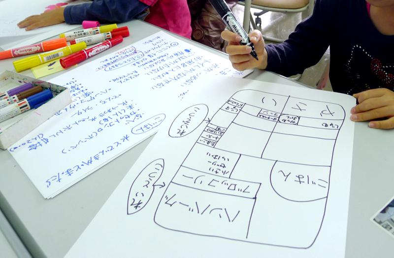 浦添市の「親子ぼうさい探検隊」で子どもたちによる冷蔵庫マップづくり=2014年1月