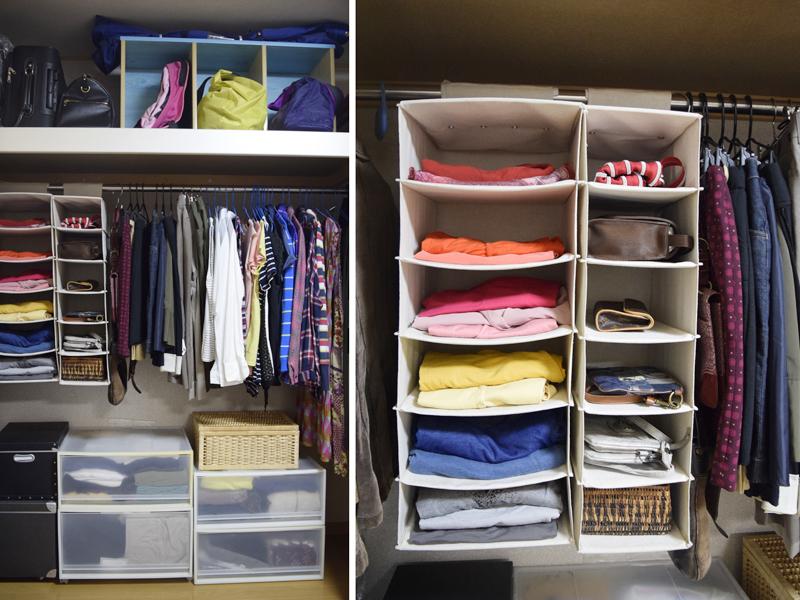まりもさんのアドバイスを受けて服の量を減らし、すっきりと片付けた。ニット素材のトップスなどは、色分けして吊り下げ式のケースに収納。「コーディネートが楽しくなった」とTさん。