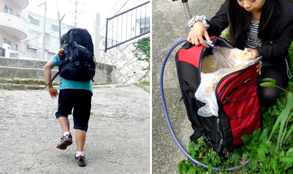 リュックを使うと、40リットルの水を子どもが楽々運べる/写真左 カートに大型ビニール袋を入れた段ボール箱を入れ、注水後にビニールの口を縛る/写真右