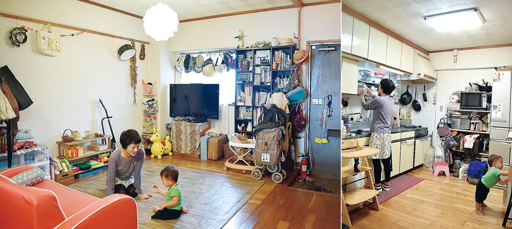 玄関からすぐのリビングは家族の憩いの場であり、近所付き合いを助ける子どもの遊び場でもある/写真左 キッチン中央もモノを置かず広々。すばる君も伸び伸び/写真右