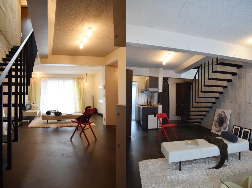 南向きの窓から陽光が広がるMさんの部屋。コンクリート打ち放しの壁、アイアンの階段など無機質な空間に、家具やファブリックなどのインテリアが映える/写真左 アイアンの軽やかなデザインの階段とソファ、アートが調和している/写真右