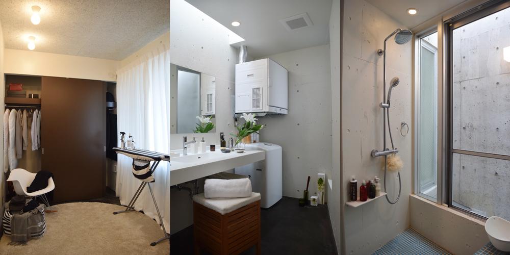 1室はクロゼットとして利用。アイロン台とイスのスチールが空間にアクセントになっている/写真左 浴室の横にある洗面室。トップライトから穏やかな陽光が広がり、化粧台の白が際立つ/写真中央 寝室隣の浴室。洗練されたデザインの水洗金具は「見た目に美しく、使い心地もいいですよ」とMさん/写真右