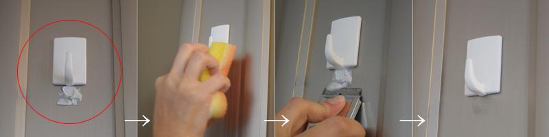 ①扉に残ったシール跡 ②中性洗剤をつけて緩ませる ③スクレイパーで削り落とす ④汚れを拭き取るとキレイに