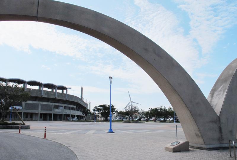<4> 北谷公園。陸上競技場、野球場をはじめ、さまざまなスポーツに対応した施設が置かれている。美浜地区で最初に整備されたのが、この公園