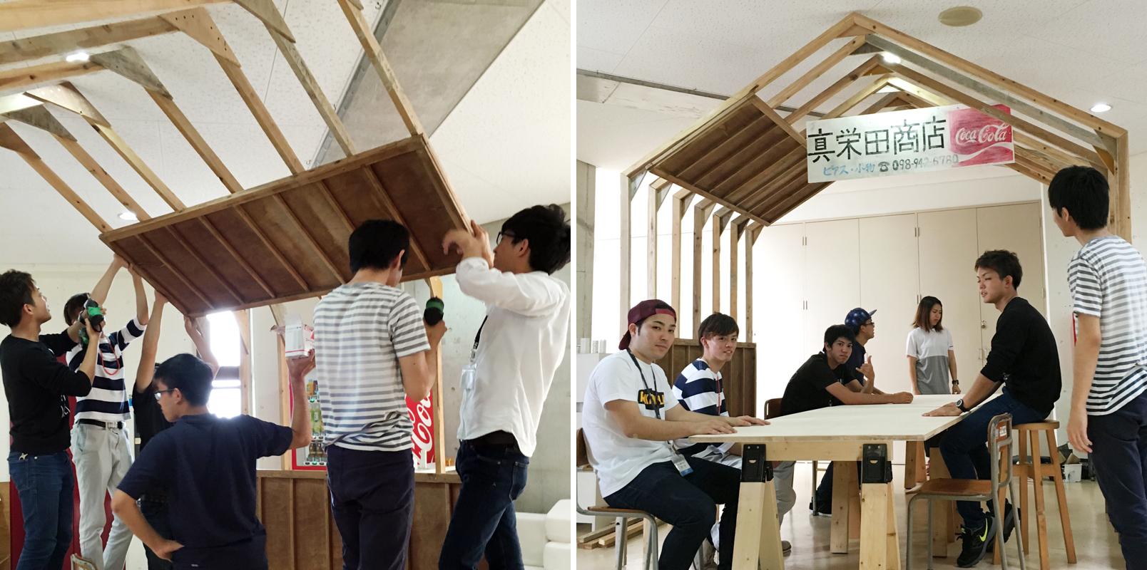 ①廃材を組み合わせる。初めて工具を扱う生徒もいる。 ②モジュールを組み合わせながら、構造について実践的に学ぶ。 ③部材を固定させる。今回は解体現場の古建具を活用した=上写真。 ④レイアウトする。1時間で完成した=左写真。