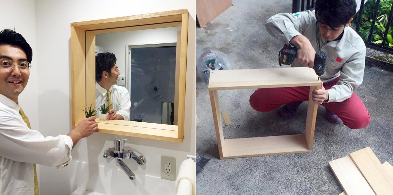 廃材で木フレームをつくり鏡を接着。小物も置けて雰囲気のよい洗面キャビネットになった