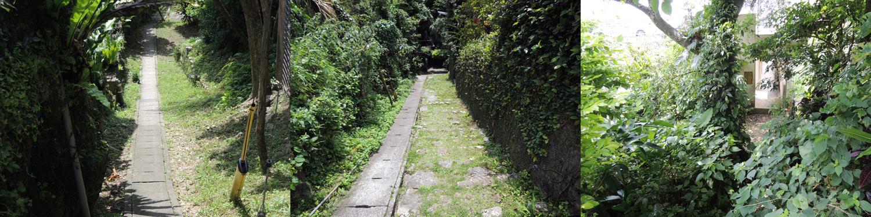 谷間へと続く排水溝兼路地/写真左。排水溝と石畳の競演/写真中央。谷間の廃墟/写真右。