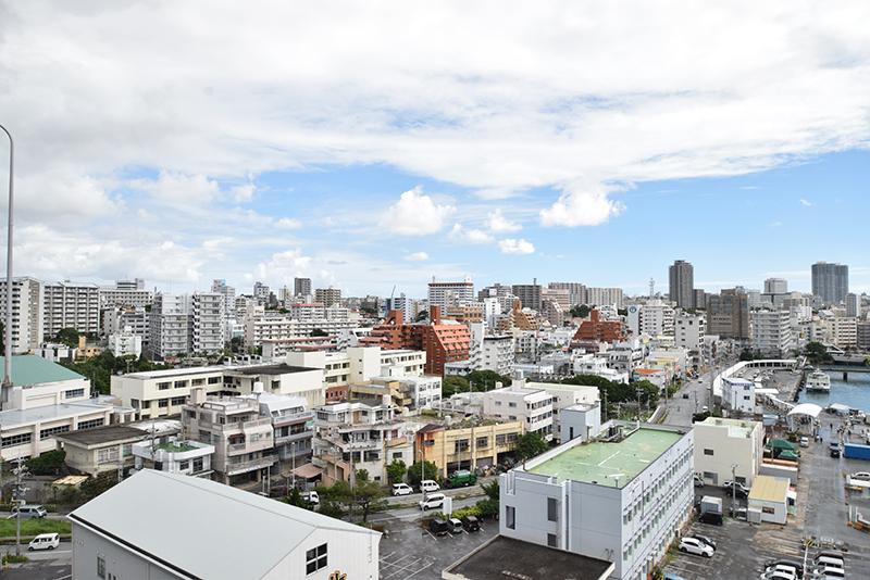 <2>泊大橋からの眺め。高低差約20mの地形を生かし、写真手前の泊地区の建物は低めに、奥の上之屋地区に行くにつれて建物が高くなっている